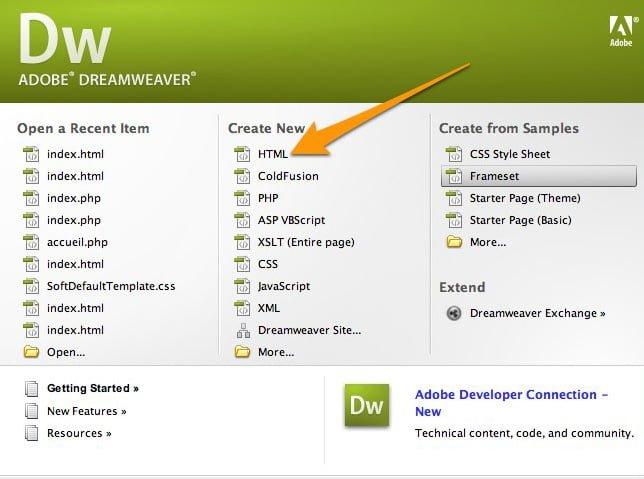 Dreamweaver screenshot